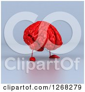 Clipart Of A 3d Red Brain Character Walking Over Gray Royalty Free Illustration