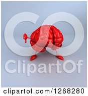 Clipart Of A 3d Red Brain Character Giving A Thumb Down Over Gray Royalty Free Illustration