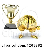 Clipart Of A 3d Gold Brain Character Holding And Pointing To A Trophy Royalty Free Illustration
