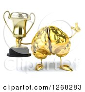 Clipart Of A 3d Gold Brain Character Holding A Trophy And A Finger Up Royalty Free Illustration