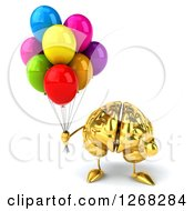 Clipart Of A 3d Gold Brain Character Holding Party Balloons Royalty Free Illustration