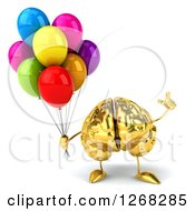 Clipart Of A 3d Gold Brain Character Holding Up A Finger And Party Balloons Royalty Free Illustration