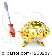 Clipart Of A 3d Gold Brain Character Holding Up A Screwdriver Royalty Free Illustration