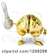 Clipart Of A 3d Gold Brain Character Holding A Key Royalty Free Illustration