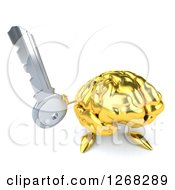 Clipart Of A 3d Gold Brain Character Holding Up A Key Royalty Free Illustration