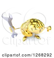Clipart Of A 3d Gold Brain Character Holding A Wrench And Thumb Down Royalty Free Illustration