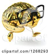 Clipart Of A 3d Bespectacled Gold Brain Character Running Angled To The Right Royalty Free Illustration