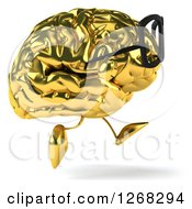 Clipart Of A 3d Bespectacled Gold Brain Character Running To The Right Royalty Free Illustration