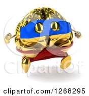 Clipart Of A 3d Gold Super Hero Brain Character Running Royalty Free Illustration