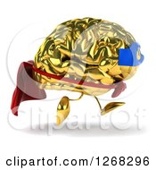 Clipart Of A 3d Gold Super Hero Brain Character Running 2 Royalty Free Illustration