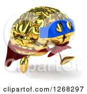 Clipart Of A 3d Gold Super Hero Brain Character Running 3 Royalty Free Illustration