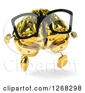 Clipart Of A 3d Bespectacled Gold Brain Character Running Royalty Free Illustration