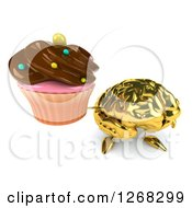 Clipart Of A 3d Gold Brain Character Holding Up A Chocolate Frosted Cupcake Royalty Free Illustration