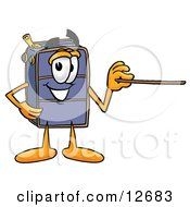 Clipart Picture Of A Suitcase Cartoon Character Holding A Pointer Stick
