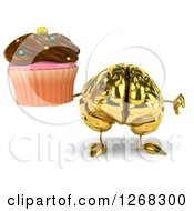 Clipart Of A 3d Gold Brain Character Holding A Chocolate Frosted Cupcake And Thumb Down Royalty Free Illustration