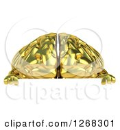 Clipart Of A 3d Gold Brain Character Over A Sign Royalty Free Illustration