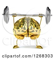 Clipart Of A 3d Gold Brain Character Lifting A Heavy Barbell Up Royalty Free Illustration