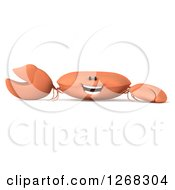 Clipart Of A 3d Happy Crab Presenting Royalty Free Illustration by Julos