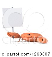 Clipart Of A 3d Happy Crab Holding Up A Blank Sign Royalty Free Illustration by Julos