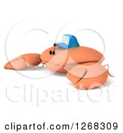 Clipart Of A 3d Crab Wearing A Baseball Cap And Facing Left Royalty Free Illustration by Julos