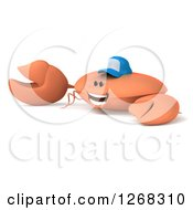 Clipart Of A 3d Crab Wearing A Baseball Cap And Presenting Royalty Free Illustration by Julos