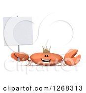 3d Happy King Crab Wearing A Crown And Holding Up A Blank Sign