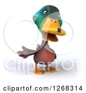 Clipart Of A 3d Mallard Drake Duck Gesturing Royalty Free Illustration
