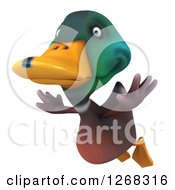 Clipart Of A 3d Mallard Drake Duck Flying Royalty Free Illustration