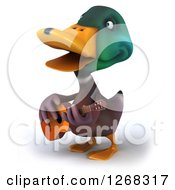 Clipart Of A 3d Mallard Drake Duck Playing A Guitar Royalty Free Illustration