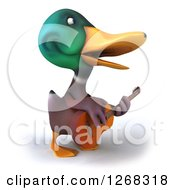 Clipart Of A 3d Mallard Drake Duck Playing A Guitar 2 Royalty Free Illustration