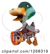 Clipart Of A 3d Mallard Drake Duck Flying And Playing A Guitar Royalty Free Illustration
