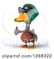 Clipart Of A 3d Mallard Drake Duck Wearing Sunglasses And Giving A Thumb Up Royalty Free Illustration