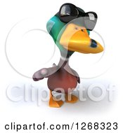 Clipart Of A 3d Mallard Drake Duck Wearing Sunglasses And Pointing Outwards Royalty Free Illustration
