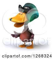 Clipart Of A 3d Mallard Drake Duck Wearing Sunglasses And Presenting Royalty Free Illustration