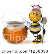 Clipart Of A 3d Bee With A Stick By A Honey Jar Royalty Free Illustration