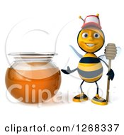 Clipart Of A 3d Bee With A Stick Presenting A Honey Jar Royalty Free Illustration