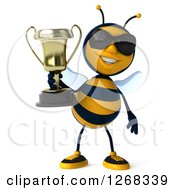 Clipart Of A 3d Bee Wearing Sunglasses And Holding A Trophy Royalty Free Illustration