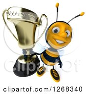 Clipart Of A 3d Bee Holding Up A Trophy Royalty Free Illustration