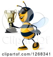 Clipart Of A 3d Bee Wearing Sunglasses And Walking With A Trophy Royalty Free Illustration