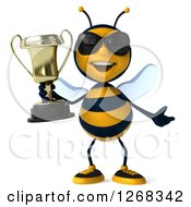 Clipart Of A 3d Bee Wearing Sunglasses And Shrugging With A Trophy Royalty Free Illustration