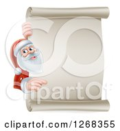 Clipart Of Santa Clause Pointing Around A Blank Christmas Scroll Sign Royalty Free Vector Illustration by AtStockIllustration