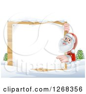 Clipart Of Santa Clause Pointing Around A Blank Wooden Christmas Sign In The Snow Royalty Free Vector Illustration