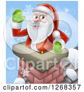 Clipart Of Santa Clause Waving In A Chimney On Christmas Eve Over Blue With Snowflakes Royalty Free Vector Illustration