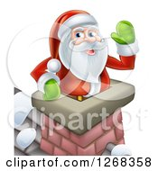 Clipart Of Santa Clause Waving In A Chimney On Christmas Eve Royalty Free Vector Illustration