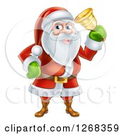 Clipart Of Santa Clause Ringing A Christmas Charity Bell Royalty Free Vector Illustration