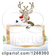 Clipart Of A Rudolph Red Nosed Reindeer Over A Wood Sign In The Snow On White Royalty Free Vector Illustration