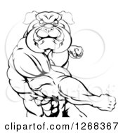 Clipart Of A Black And White Tough Muscular Bulldog Man Punching Royalty Free Vector Illustration