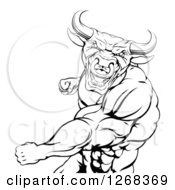 Clipart Of A Black And White Angry Muscular Bull Or Minotaur Man Mascot Punching Royalty Free Vector Illustration