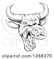 Clipart Of A Black And White Mad Bull Mascot Head Royalty Free Vector Illustration