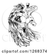 Clipart Of A Black And White Spartan Trojan Warrior Guardian Angel Running With A Sword Royalty Free Vector Illustration